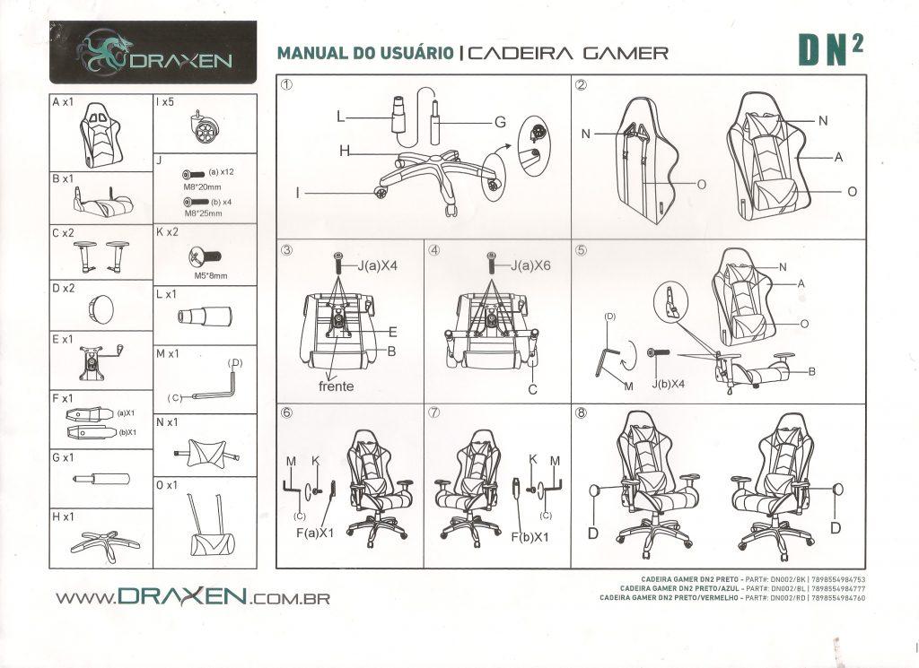 manual cadeira gamer